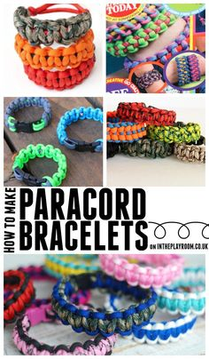 Parachute cords aka paracords are a big crafting trend. The cords can be tied into all kinds of bracelets, and you can make all sorts of other cool things with them, too! ~ from intheplayroom.co.uk