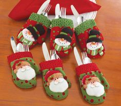 6 Pc. Christmas Mitten Silverware Holders