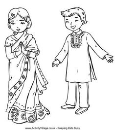 Children around the world coloring pages from Activity Village