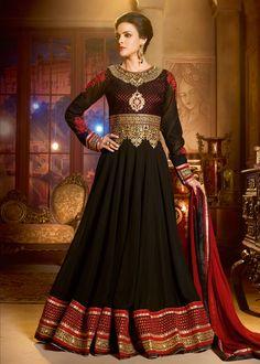Black Georgette Abaya Style Salwar Kameez Online Shopping : 510SL03