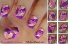Fish tail nails. Fun easy to do design. Want the tutorial? Check out on YouTube missjenfabulous. She has the best nail art tutorials!!