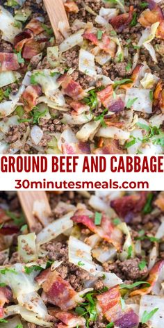 Ground Beef and Cabbage is a flavorful yet simple dinner idea that cooks up in one pan, in just under 20 minutes. #cabbage #groundbeef #beef #dinner #30minutesmeals Beef Recipes For Dinner, Delicious Dinner Recipes, Ground Beef Recipes, Quick Recipes, Quick Easy Meals, Fast Meals, Yummy Food, Hamburger Recipes, Savoury Recipes