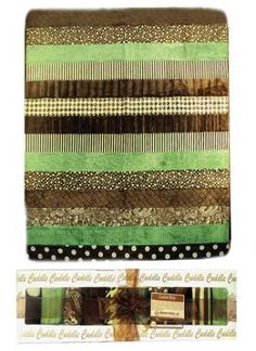 The Striped Cuddle Quilt uses plush fabrics and a quilt as you go method for a quick snuggly throw quilt.