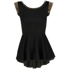Black Gold Studded Peplum Top ($24) ❤ liked on Polyvore