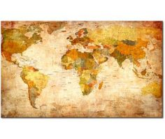 Posterazzi anima mundi canvas art joannoo 24 x 48 anima old style world map wall mural wallpaper wallpaper wall murals sciox Images
