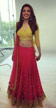 Kajal Agarwal Navel Photo Shoot In Red Lehenga Yellow Choli Choli Designs, Lehenga Designs, Red Lehenga, Lehenga Blouse, Anarkali, Sari, Yellow Lehenga, Long Choli Lehenga, Stylish Blouse Design