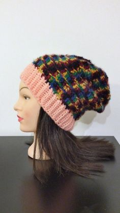 Multicolor Slouchy Beanie by TikosPlace on Etsy