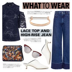 """""""What to wear: LACE TOPS AND HIGH-RISE JEANS"""" by ifchic ❤ liked on Polyvore featuring Ganni, TIBI, Lizzie Fortunato, MIANSAI, Le Specs Luxe and contemporary"""