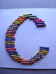 C is for Crayon. Simple crayon monogram. Frame it and put in your child's room or give as a teacher's gift - Chipman's Corner Preschool