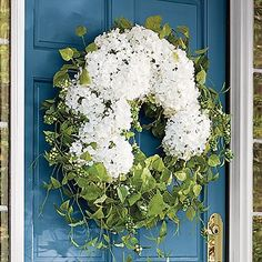 "Haley Hydrangea Vine Wreath $129. 26"" for at least a 42"" door"