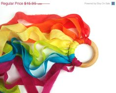 SALE Waldorf PLAY SILK Kite, Dancing Ribbon Streamer Rainbow Whirligig Toy Rainbow party ideas- party favors