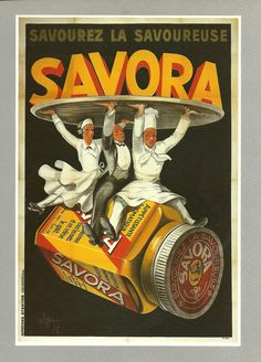 FOOD - Vintage French color advertisement poster - cook, waiter 1920s.