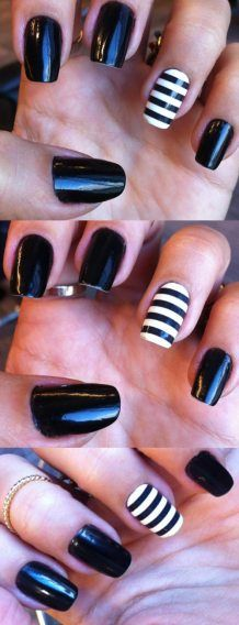 Black nails with black and white stripey nail wrap accent nail - So Many Lovely Things