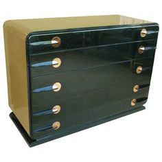 Donald Deskey Style Streamline Moderne Dresser | From a unique collection of antique and modern dressers at https://www.1stdibs.com/furniture/storage-case-pieces/dressers/