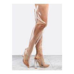 SheIn(sheinside) Pointy Toe Transparent Thigh High Boots ROSE GOLD ($105) ❤ liked on Polyvore featuring shoes, boots, golden, pointy-toe boots, above the knee boots, back zipper boots, high heel boots and pointed toe over the knee boots