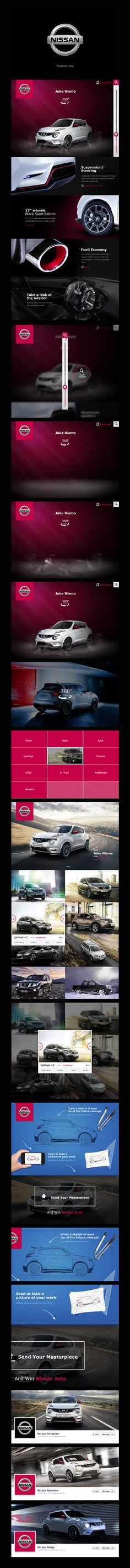 Nissan Facebook App by Nemanja Ivanovic, via Behance *** Huge Media Agency hired me to create a concept for Nissan campaign for South-East Europe, and how it would look like on Facebook.