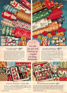Vintage Christmas wrapping paper advertisement, 1962.