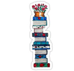 'Rosebush & Books' Sticker by Emma Mildred Riggle Journal Stickers, Laptop Stickers, Planner Stickers, Printable Stickers, Cute Stickers, Planner Bullet Journal, How To Make Stickers, Tumblr Stickers, Book Lovers Gifts