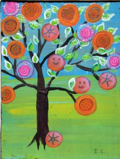 Happy+Tree++Penny+Tree+original+painting+on+reclaimed+by+icColors,+$25.00