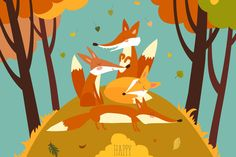 Cute Foxes in Autumn Forest - Vector Illustration AI, EPS