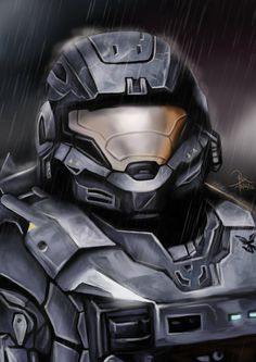 Final piece in my Halo Reach fan art series (go check out my gallery)! Sixth of Six: Noble Six Halo Cosplay, Skyrim Cosplay, Anime Cosplay, Halo Game, Halo 5, Halo Reach, Halo Tattoo, Halo Spartan, Halo Armor