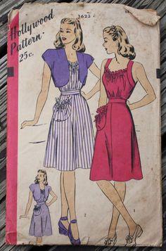Hollywood 1623 1940s 40s Sun Dress Bolero by EleanorMeriwether, $22.00