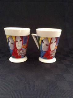 Set Of 2 Disaronno Amaretto Ceramic Coffee Cup Mugs Mardi Gras Mask Liqueur face
