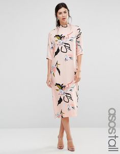 ASOS TALL Contemporary Floral Print High Neck Midi Dress