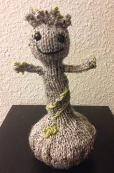 Free Knitting Pattern for Baby Groot - Amber L. Uphoff designed this adorable toy inspired by Guardians of the Galaxy.