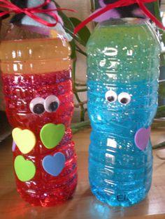 "Help children calm down with 'Meditation Friends' (water, oil & glitter in the bottles) ("",)"