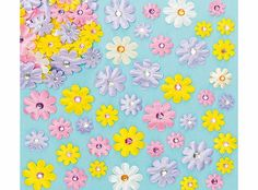 Yellow Moon Self-Adhesive Satin Gem Flowers - Pack of 60 A pretty addition to all your spring and summer crafts. Fabric flowers with jewelled centres to stick on cards and collage. Assorted colours and sizes. 18mm-35mm. http://www.comparestoreprices.co.uk/creative-toys/yellow-moon-self-adhesive-satin-gem-flowers--pack-of-60.asp