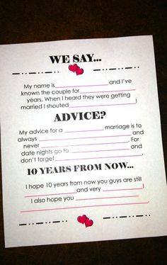 "I could easily see my friends being silly about this. ""My advice for a short-lived marriage... I hope 10 years from now you guys are still alive..."" Those kinds of things."