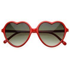 Óculos escuros de Coração Vermelho. Mais pin up girl e pop impossível! PRECISO.