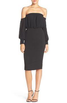 NWT! $335  Misha Collection Adia of the Shoulder Blouson Midi Dress |SZ XS| B245 #MishaCollection #Cocktail