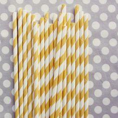 Striped Paper Straws: Yellow $4