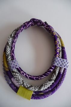 Shibori tube necklace by East Side Bags