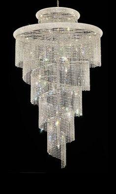 Elegant Lighting Spiral Collection Foyer/Hallway Large Hanging Fixture x Chrome Finish (Royal Cut Crystals) Chandelier Design, Foyer Chandelier, Luxury Chandelier, Chandelier Lighting, Large Crystals, Swarovski Crystals, Crystal Light Fixture, Crystal Pendant, Crystal Chandeliers