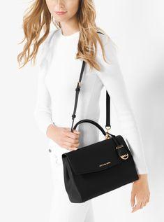 52f9f9cf1e40 Outlet Michael Kors Black Ava Medium Saffiano Leather Satchel Stockist
