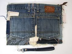 Daring Patchwork Jeans Wristlet Upcycled Cotton от PolarysTotes