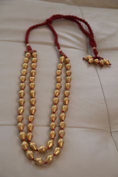Necklace of double lined gold-plated dholki beads in 92.5 pure silver (Brand New) by EleganceByRajul on Etsy