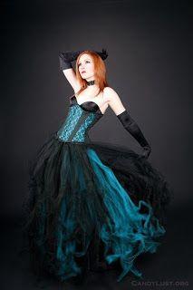 Black & peacock blue goth dress