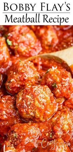 This Italian Meatball Recipe from Bobby Flay is easy to make ahead of time on the stove top and reheat in the Crock Pot and it makes a great freezer meal! This Italian Meatball Recipe from Bobby Flay. Beef Dishes, Pasta Dishes, Food Dishes, Main Dishes, Meat Recipes, Appetizer Recipes, Cooking Recipes, Meatball Recipes, Healthy Recipes