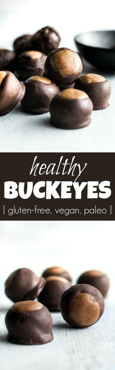 You won't miss the butter or sugar in these healthy buckeyes! They're made with wholesome ingredients like coconut flour and maple syrup, and make a delicious alternative to a traditional favourite! {gluten-free, vegan, paleo} | http://runningwithspoons.com