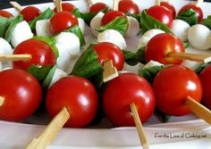 Cherry tomatoes, basil and cheese