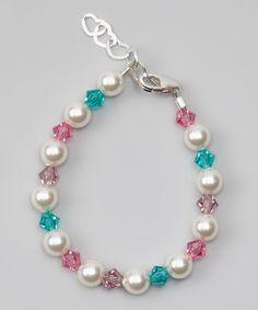 White Swarovski Crystal & Pearl Bracelet
