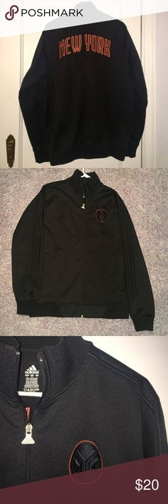 Adidas New York Knicks Zip Jacket Black Zip NYK Jacket with pockets adidas Sweaters Zip Up
