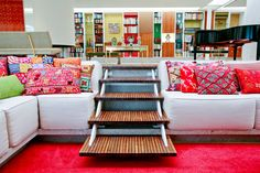 Alexander Girard The interior scheme he produced for the Saarinen designed Miller House in Indianapolis, USA An example of Gi. Home Interior Design, Interior Architecture, Interior And Exterior, Interior Stairs, Interior Designing, Room Interior, Conversation Pit, Sunken Living Room, Living Area