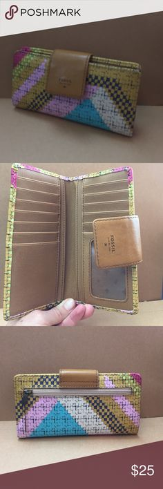 Fossil wallet Multi-colored wallet with coin zipper and 15 card holder slots plus other spaces to hold money Fossil Bags Wallets