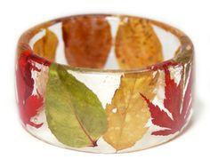 Fall Leaves Bracelet Real Flower Jewelry by ModernFlowerChild
