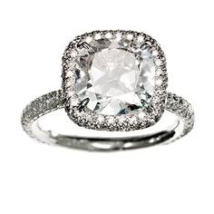 Simmons 3.32-carat cushion-cut diamond and pave diamonds in platinum, Simmons, $52,000;